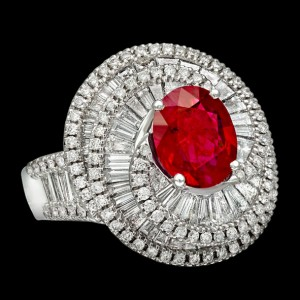 massimo raiteri jewellery jewelry gioielli anello ring diamond diamonds diamanti baguette tepper classic design classico fashion moda ruby rubino pigeon blood