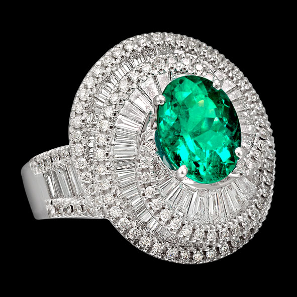 massimo raiteri jewellery jewelry gioielli anello ring diamond diamonds diamanti baguette tepper classic design classico fashion moda emerald smeraldo colombia columbia minor