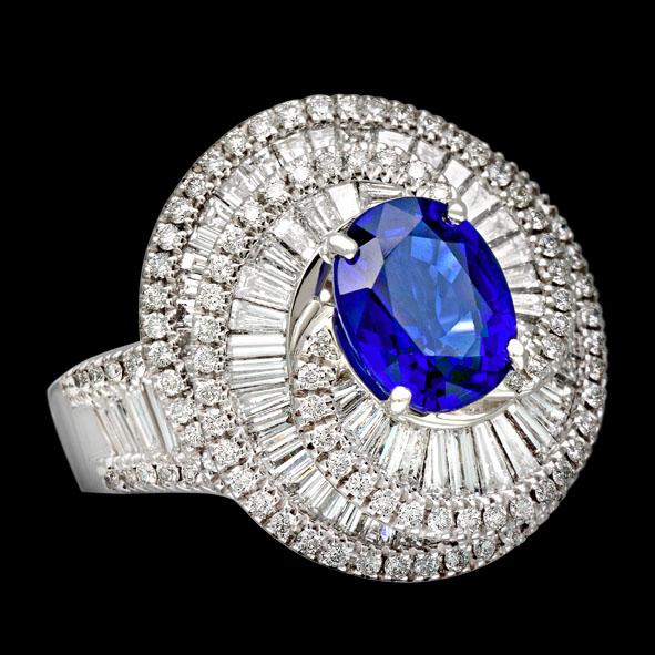 massimo raiteri jewellery jewelry gioielli anello ring diamond diamonds diamanti baguette tepper classic design classico fashion moda sapphire zaffiro blue blu