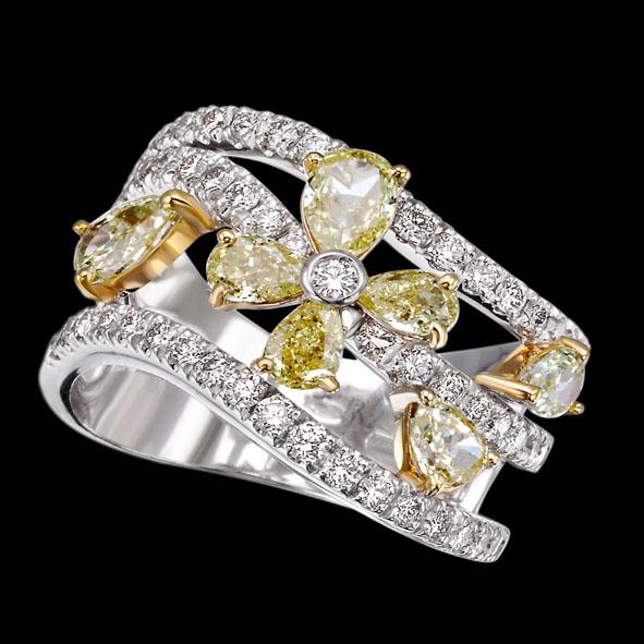 massimo raiteri exclusive jewelry jewelry gioielli diamanti diamonds white bianchi flower fiore fancy yellow giallo color