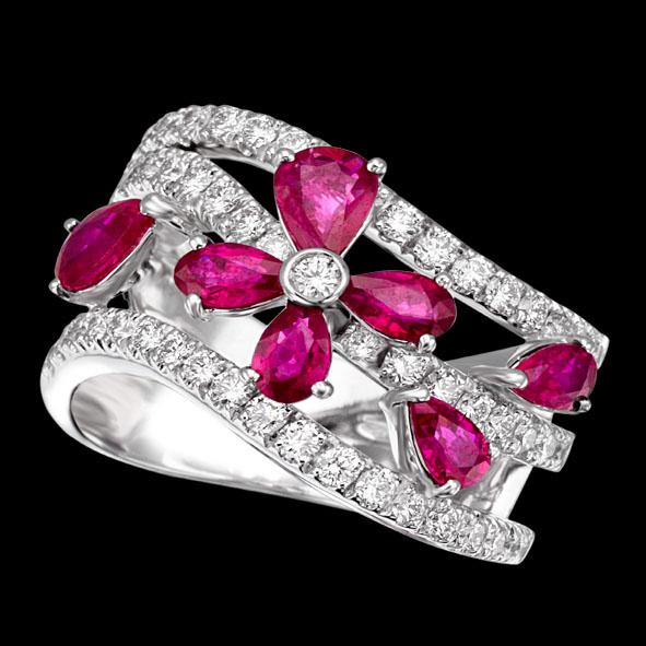 massimo raiteri exclusive jewelry jewelry gioielli diamanti diamonds white bianchi flower fiore ruby rubini rubino