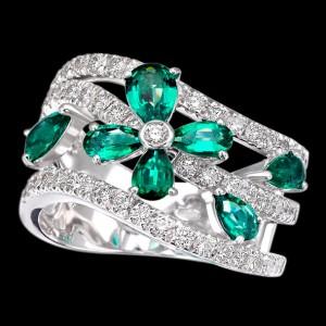 massimo raiteri exclusive jewelry jewelry gioielli diamanti diamonds white bianchi flower fiore emerald smeraldo smeraldi emeralds