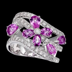 massimo raiteri exclusive jewelry jewelry gioielli diamanti diamonds white bianchi flower fiore sapphire zaffiro zaffiri sapphires pink rosa