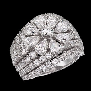 massimo raiteri jewellery gioielli anello ring diamonds diamond diamanti diamante flower fiore goccia pear