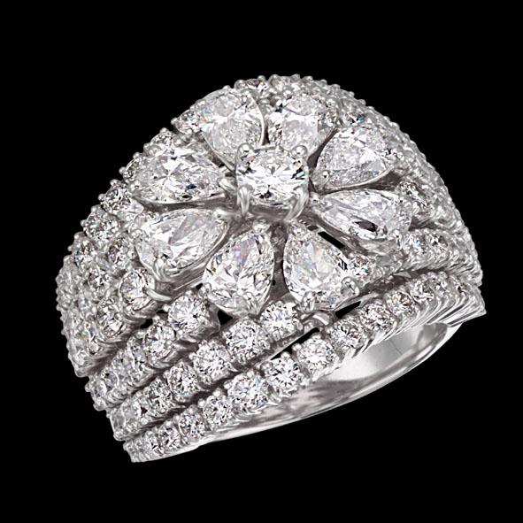 massimo raiteri jewellery gioielli anello ring diamonds diamond diamanti diamante flower fiore goccia pear