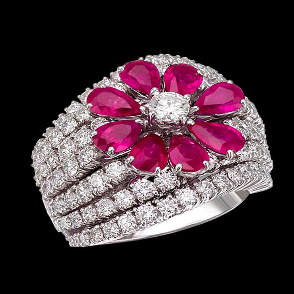 massimo raiteri jewellery gioielli anello ring ruby rubino rubini diamonds diamond diamanti diamante flower fiore goccia pear
