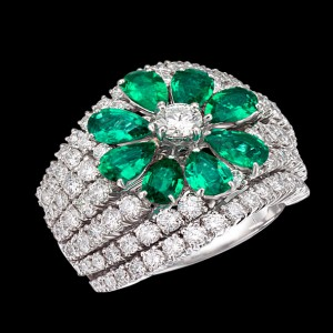 massimo raiteri jewellery gioielli anello emerald smeraldi colombia columbia ring diamonds diamond diamanti diamante flower fiore goccia pear