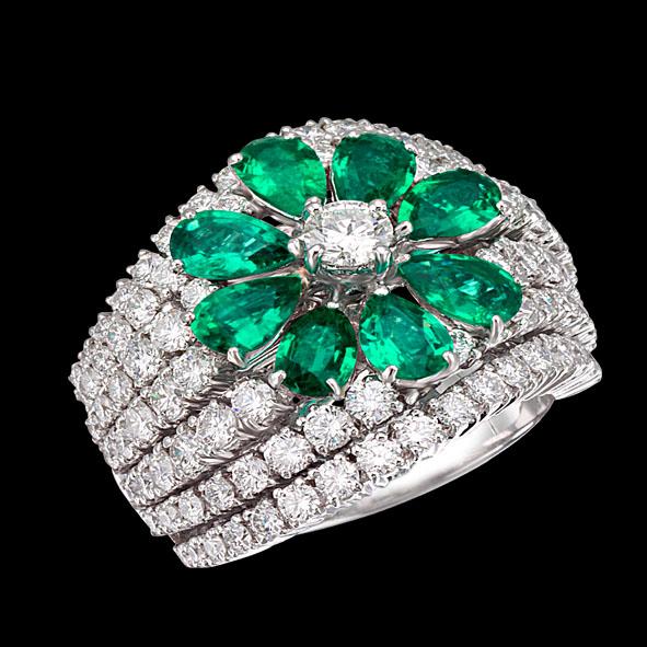 massimo raiteri jewellery gioielli anello emerald smeraldi colombia columbia ring diamonds diamond diamanti diamante flower fiore goccia pear