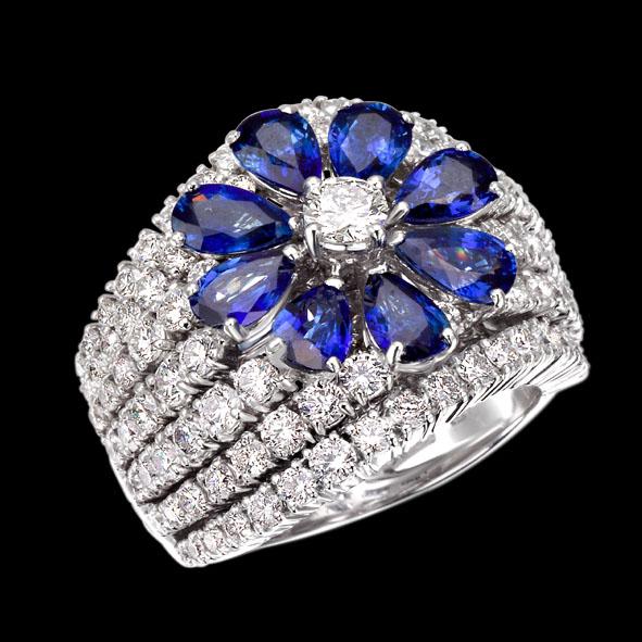 massimo raiteri jewellery gioielli anello sapphire zaffiro zaffiri blu blue ring diamonds diamond diamanti diamante flower fiore goccia pear