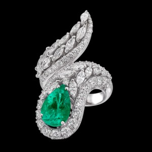 massimo raiteri jewellery jewelry gioielli anello ring diamond diamonds diamanti unique unici design faschion emerald smeraldo smeraldi goccia pear