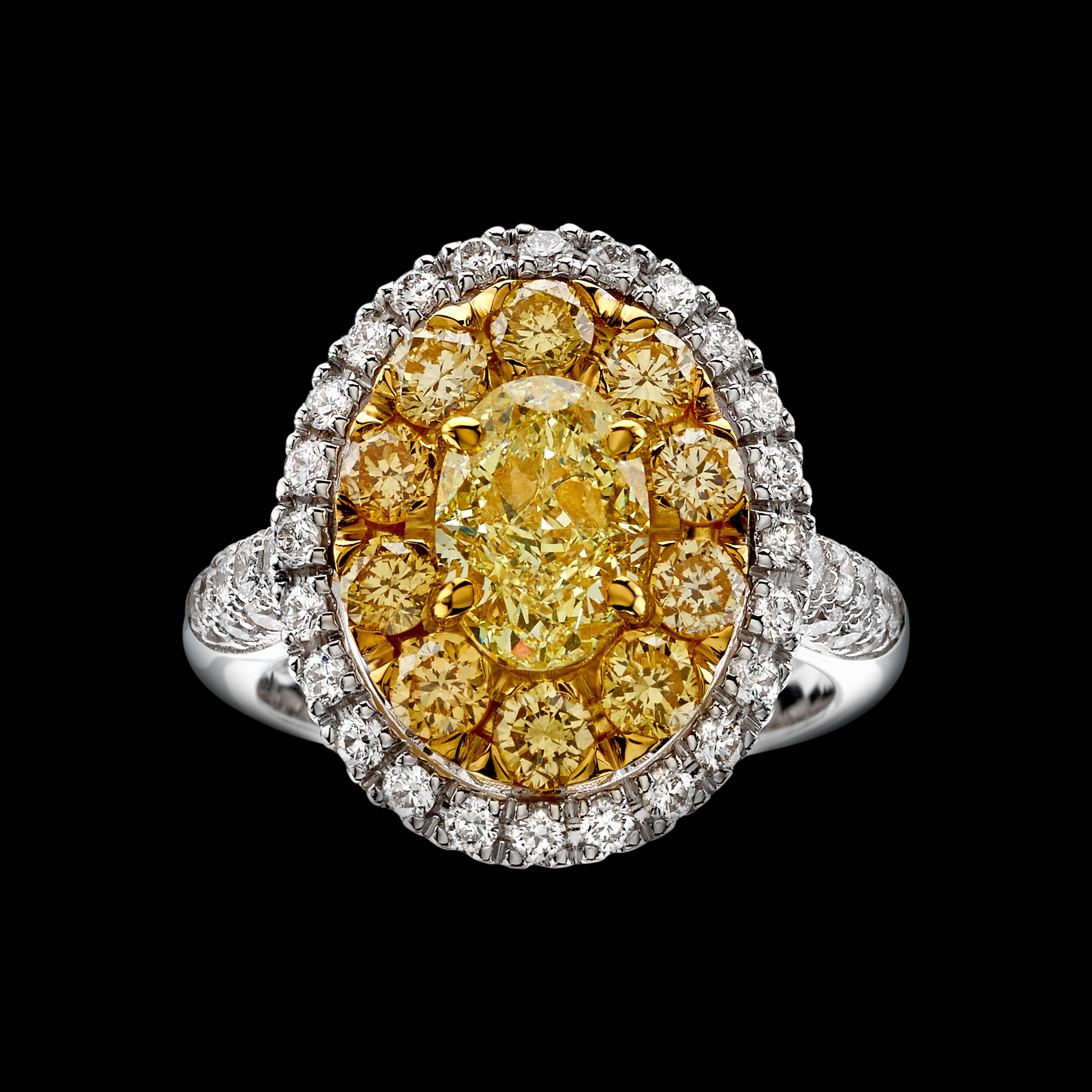 massimo raiteri fancy yellow diamonds ring anello diamanti gialli sole