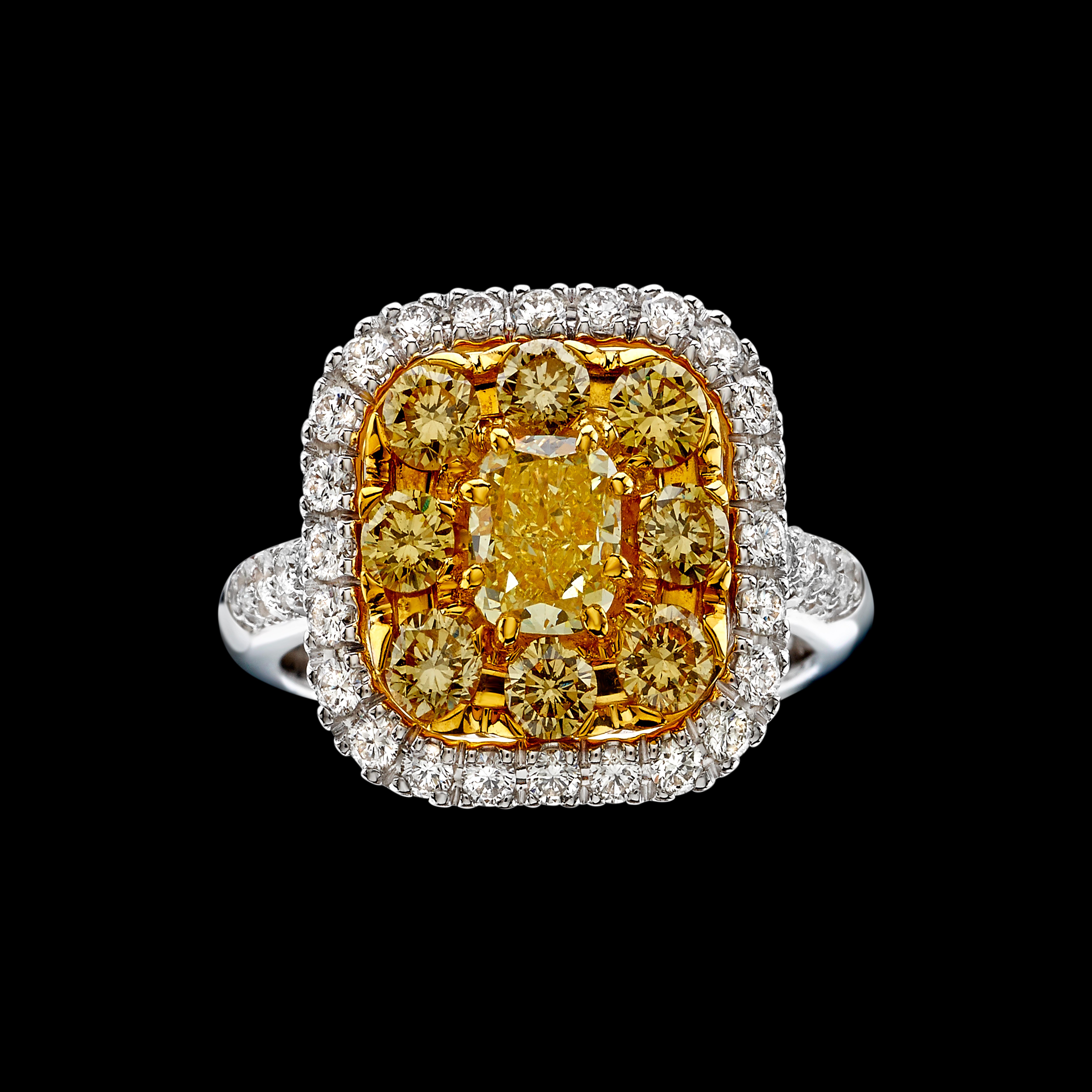 Massimo Raiteri fancy yellow diamonds ring anello diamanti gialli