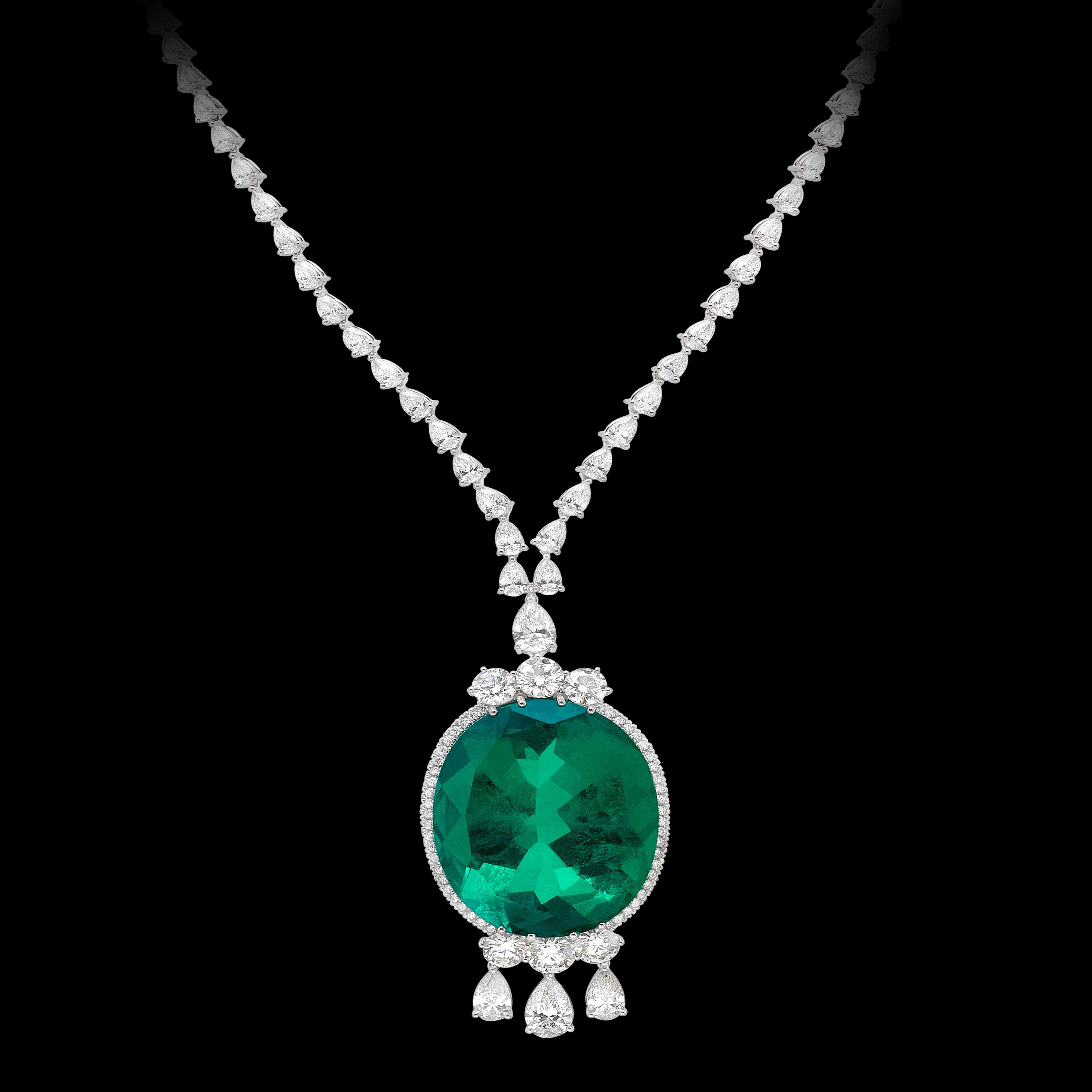 Massimo Raiteri Exclusive Jewellery emerald colombian minor 100 ct smeraldo colombiano necklace girocollo tennis diamanti diamonds classic high jewellery