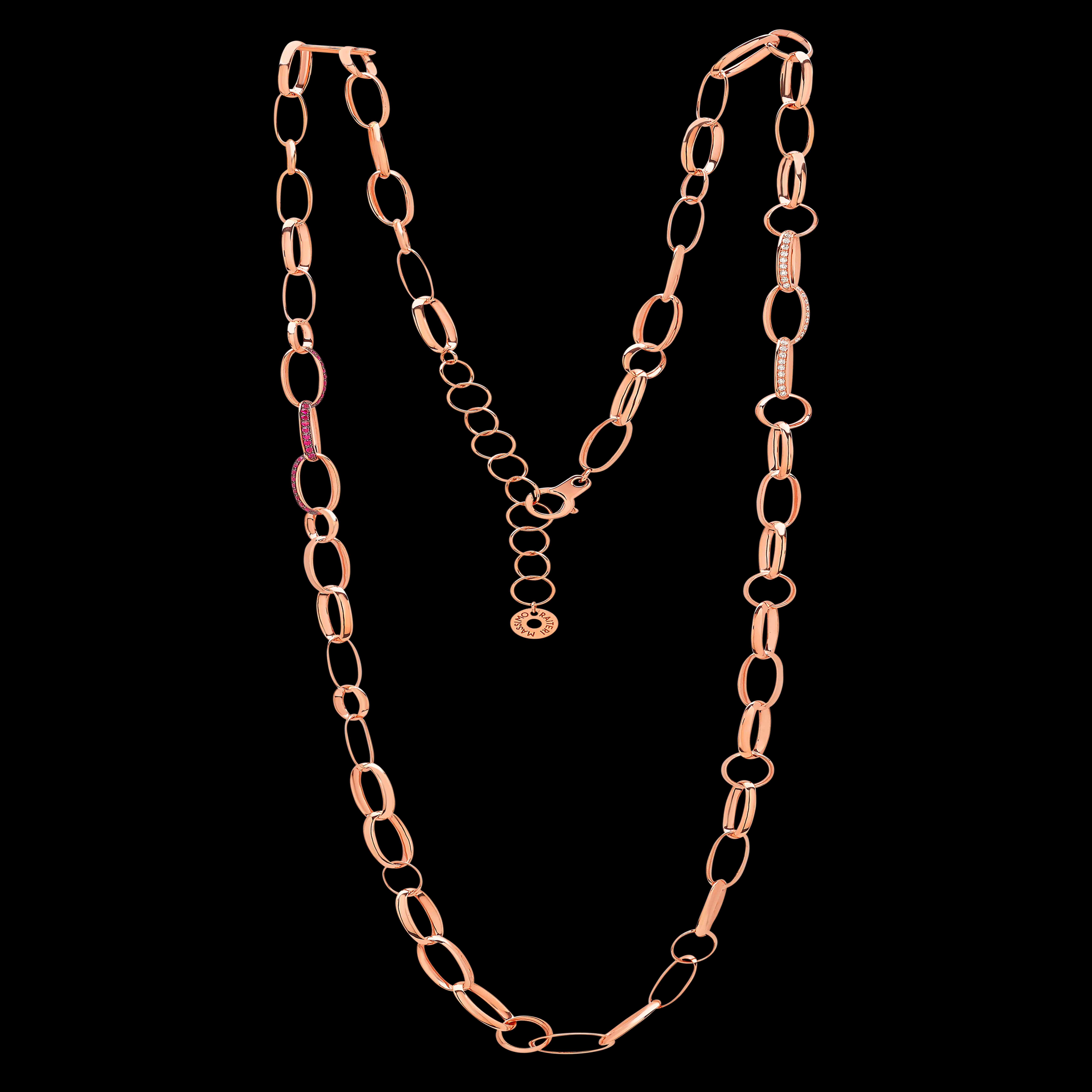 Massimo Raiteri long chain oro gold catene lunghe gioielli jewellery diamonds diamanti ruby rubini