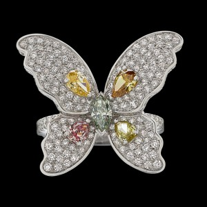 Massimo Raiteri jewellery pink blue yellow green diamond ring