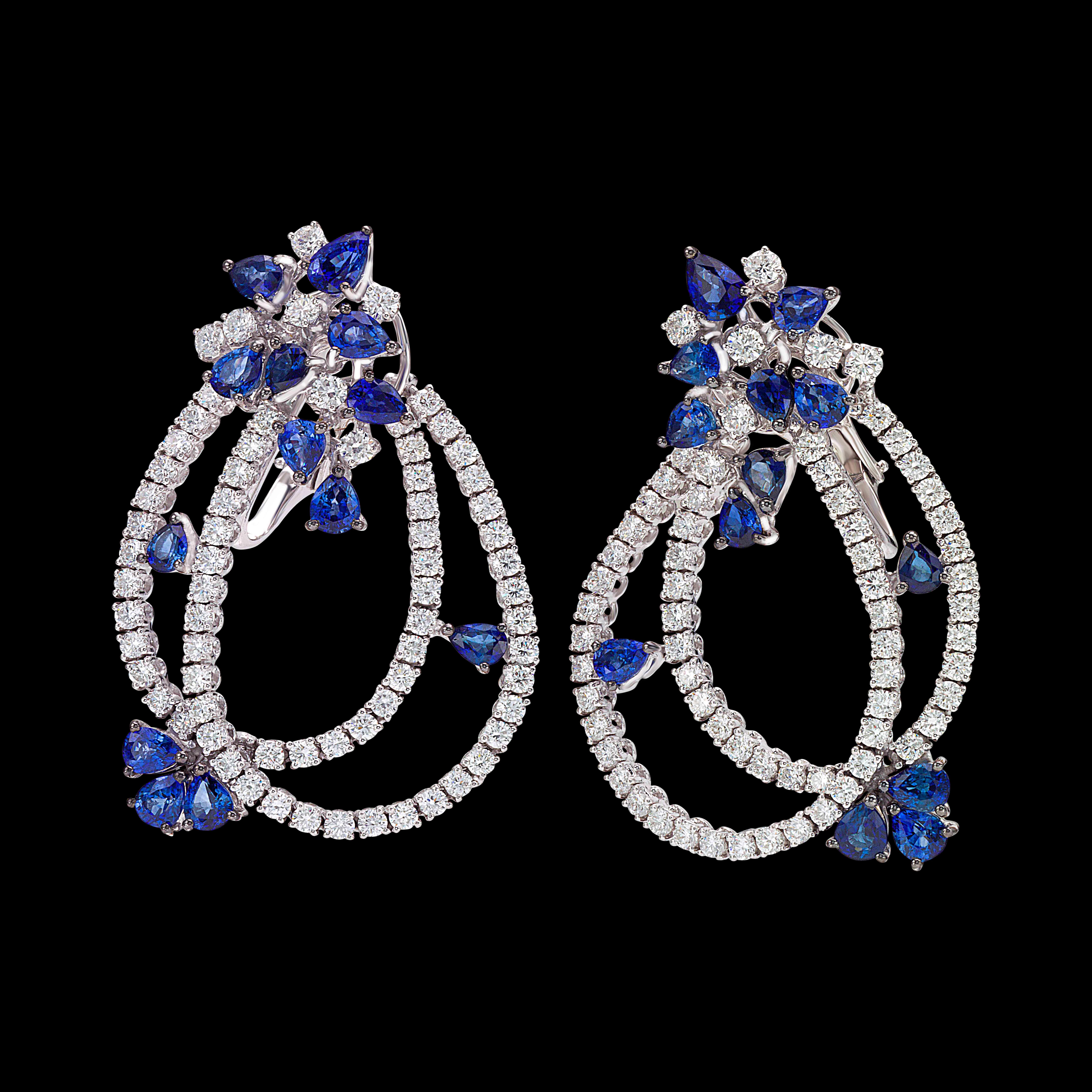 massimo raiteri exclusive jewellery gioielli diamond diamanti diamonds earring orecchini classic classici pear gocce blue blu sapphire zaffiri zaffiro