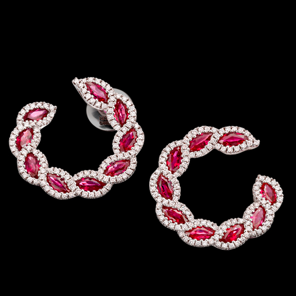 massimo raiteri exclusive jewellery gioielli earring orecchini diamanti diamonds ruby rubini