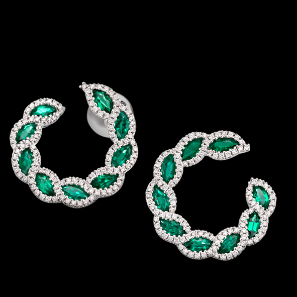 massimo raiteri exclusive jewellery gioielli earring orecchini diamanti diamonds emerald smeraldi
