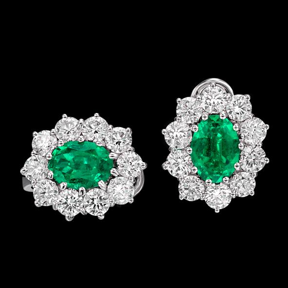 massimo raiteri exclusive jewellery gioielli earring orecchini contorno classic diamonds diamanti emerald smeraldo